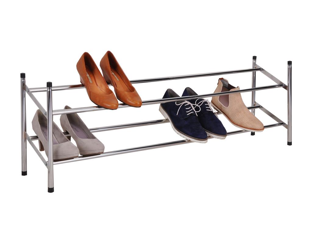 Παπουτσοθήκη Stand για Αποθήκευση Παπουτσιών Inox με 2 επίπεδα 117x23x36cm, 98089 – Cb