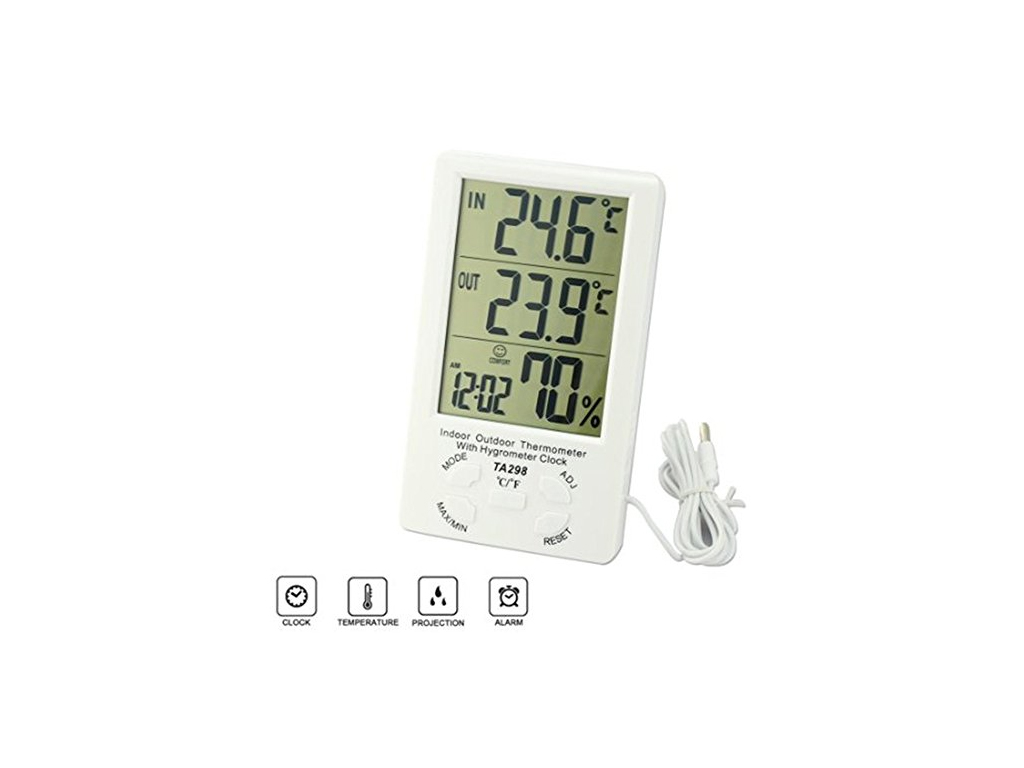 Ψηφιακή Οθόνη Ρολόι με ενδείξεις Θερμοκρασίας και Υγρασίας LingsFire Digital LCD διακόσμηση και φωτισμός   ρολόγια τοίχου  επιτραπέζια και επιδαπέδια ρολόγια