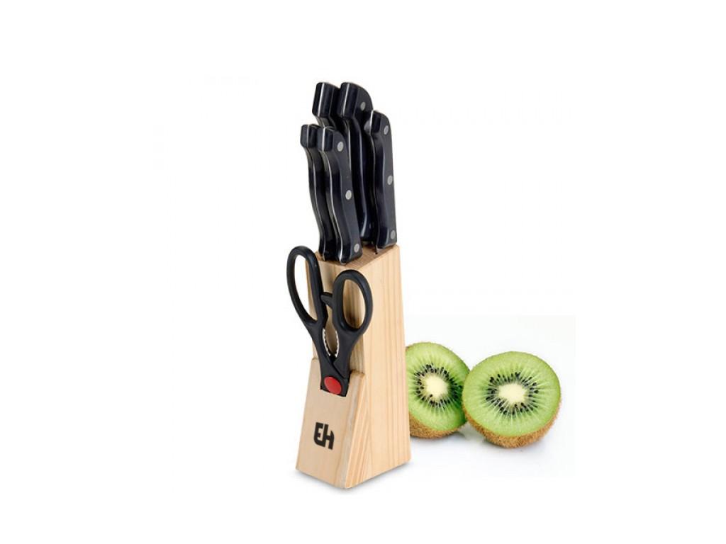 Σετ Μαχαίρια Κουζίνας από Ανοξείδωτο ατσάλι 5 τεμ. συν Ψαλίδι σε Ξύλινη Βάση Απο αξεσουάρ και εργαλεία κουζίνας   μαχαίρια κουζίνας