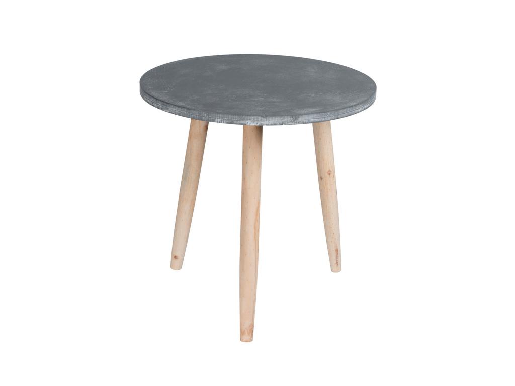 Homestyle Μοντέρνο Ξύλινο Στρογγυλό Τραπεζάκι με Τρίποδη Βάση 45x44cm σε Γκρι χρ έπιπλα   τραπέζια και καρέκλες