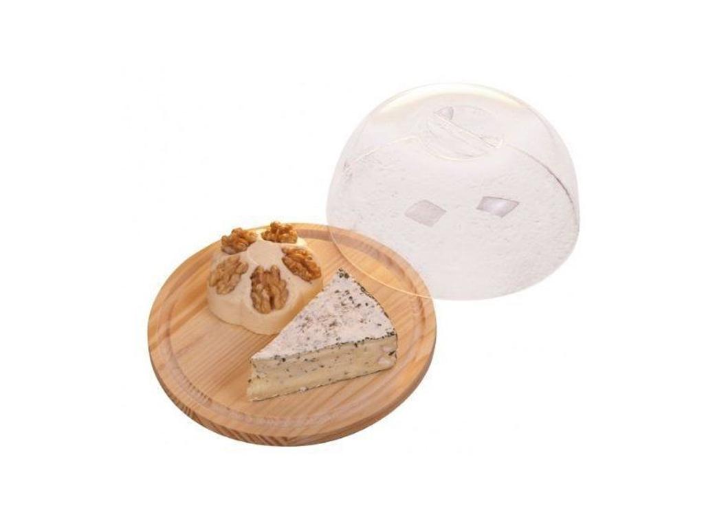 Ξύλινος Δίσκος Κοπής και Σερβιρίσματος τυριών με Διάφανο καπάκι 18cm από Μπαμπού σερβίρισμα   δίσκοι  πιατέλες και ορντεβιέρες