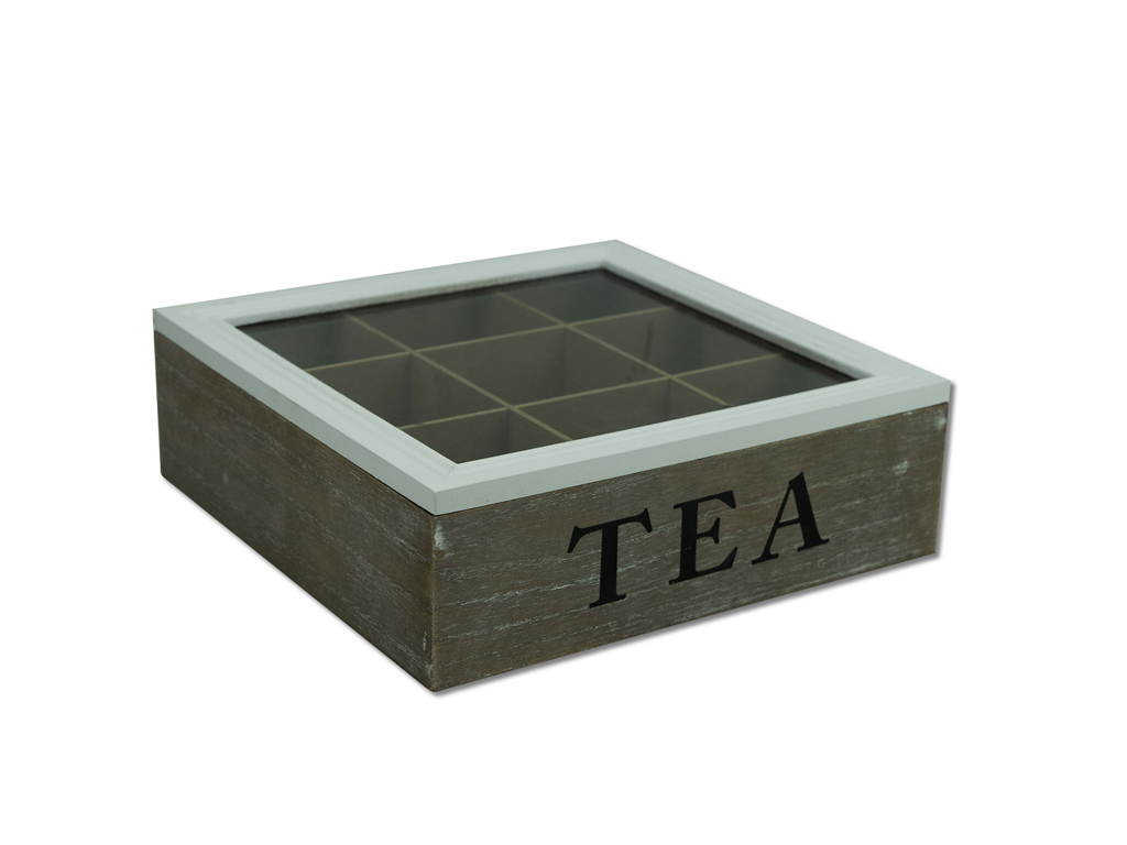 Ξύλινο Vintage Πρακτικό Κουτί Αποθήκευσης για Φακελάκια Τσαγιού 24x24x7cm Tea bo κουζίνα   κουτιά κουζίνας και ψωμιέρες