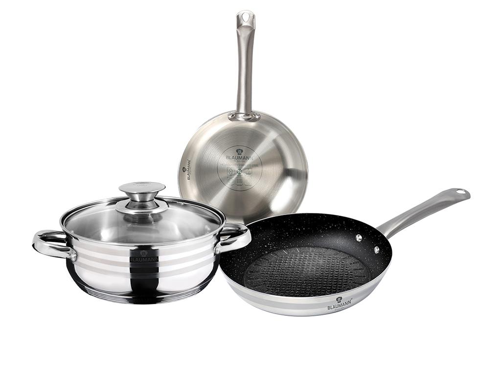 Blaumann Σετ Επαγγελματικά Μαγειρικά Σκεύη 4 τεμ. από Ανοξείδωτο Ατσάλι με πάτο  μαγειρικά σκεύη   σετ μαγειρικών σκευών