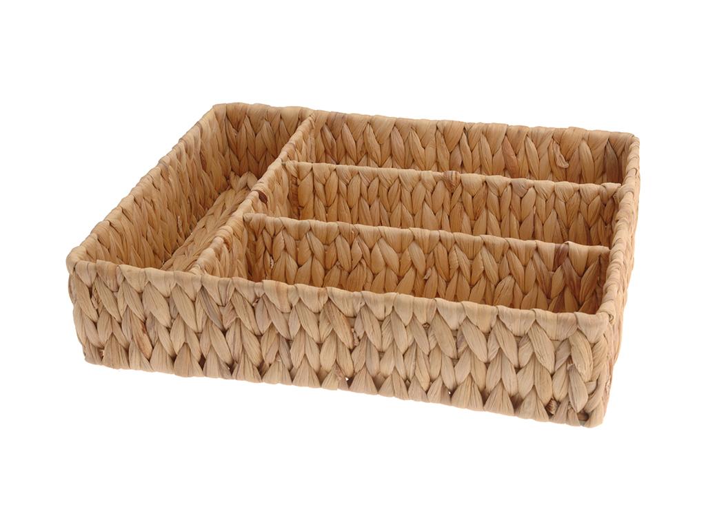Ψάθινη Θήκη Συρταριού για Μαχαιροπίρουνα Διοργανωτής 33.5x28x9cm - Cb