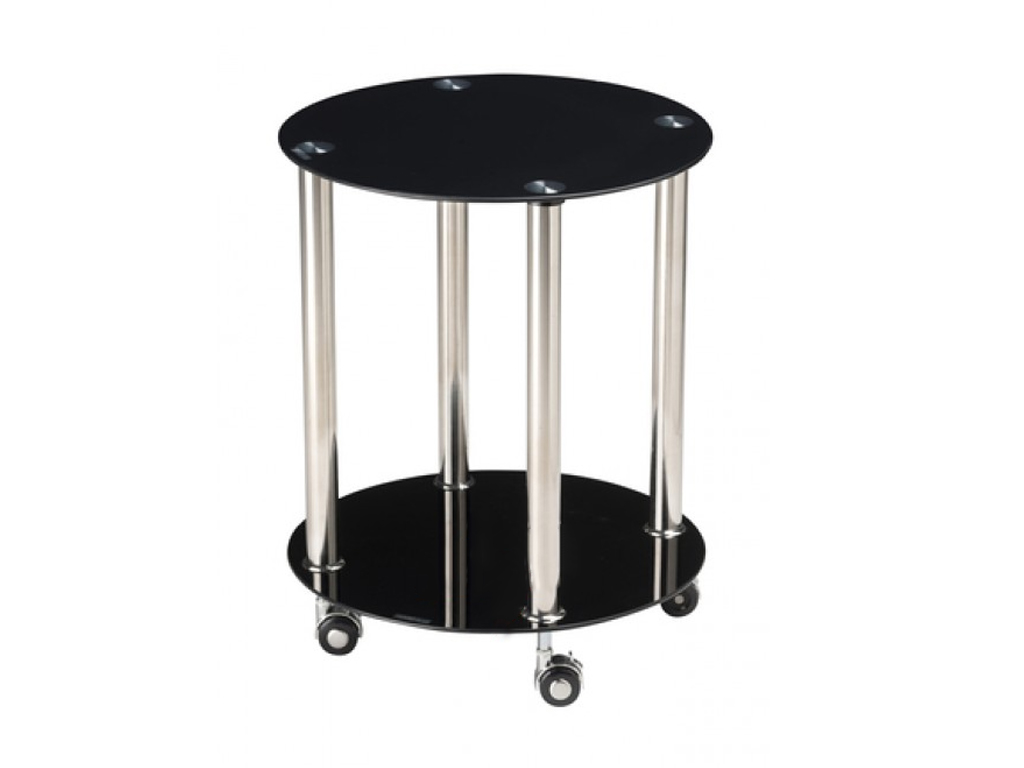 Homestyle Γυάλινο Πρακτικό Έπιπλο Στρογγυλό Τραπεζάκι Οργανωτής Τρόλεϊ 40x50cm μ έπιπλα   τραπέζια και καρέκλες