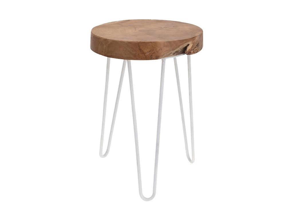 Σκαμνί-Σκαμπό από Ξύλο και Λευκό Μέταλλο με Στρογγυλό Κάθισμα 42x30cm - Cb έπιπλα   πουφ και σκαμπό
