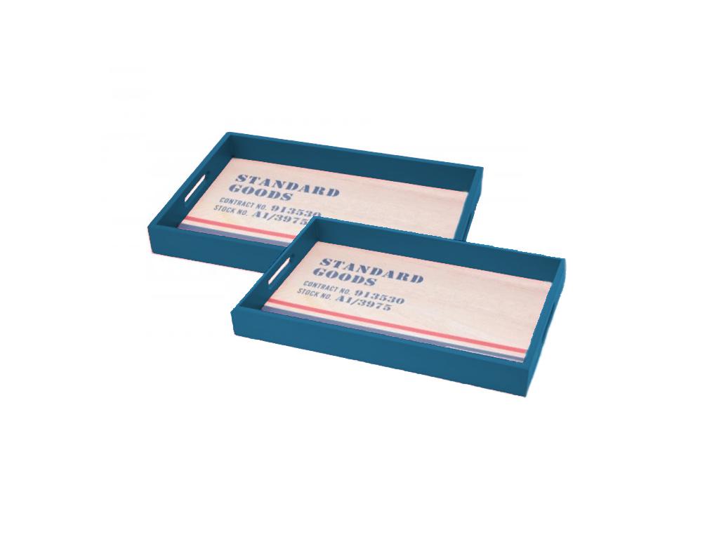 Σετ Ξύλινοι Δίσκοι Σερβιρίσματος 2 τεμ. με λαβές Χρώμα Μπλε - Cb