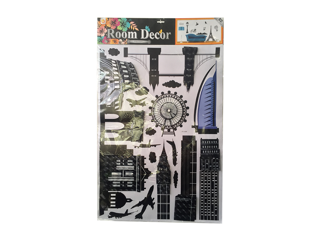 Σετ Διακοσμητικά Αυτοκόλλητα Σπιτιού με 5D Look Wall Stickers και θέμα αξιοθέατα διακόσμηση και φωτισμός   πινακίδες  καμβάδες και αφίσες