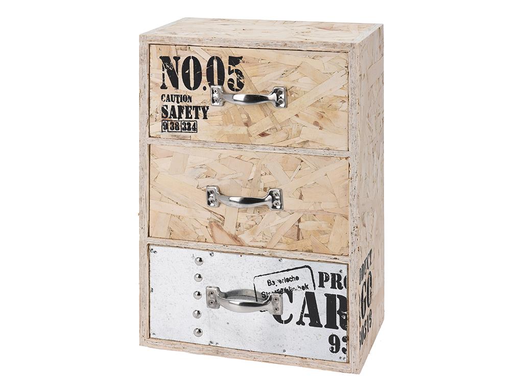 Ξύλινο Vintage Σύνθετο με 3 Αποσπώμενα Συρτάρια 22x12x33cm - Cb έπιπλα   έπιπλα εισόδου και σύνθετα