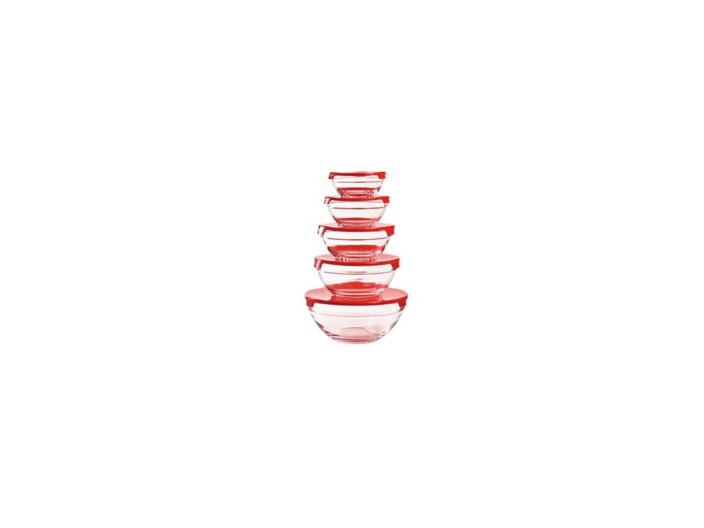 Herzberg Σετ Γυάλινα Μπολ με Καπάκι 5 τεμ., HG-5007 Χρώμα Μωβ - Herzberg κουζίνα   τάπερ και μπολ αποθήκευσης τροφών