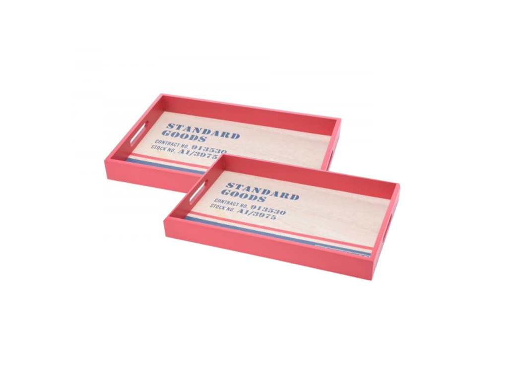 Σετ Ξύλινοι Δίσκοι Σερβιρίσματος 2 τεμ. με λαβές Χρώμα Κόκκινο - Cb