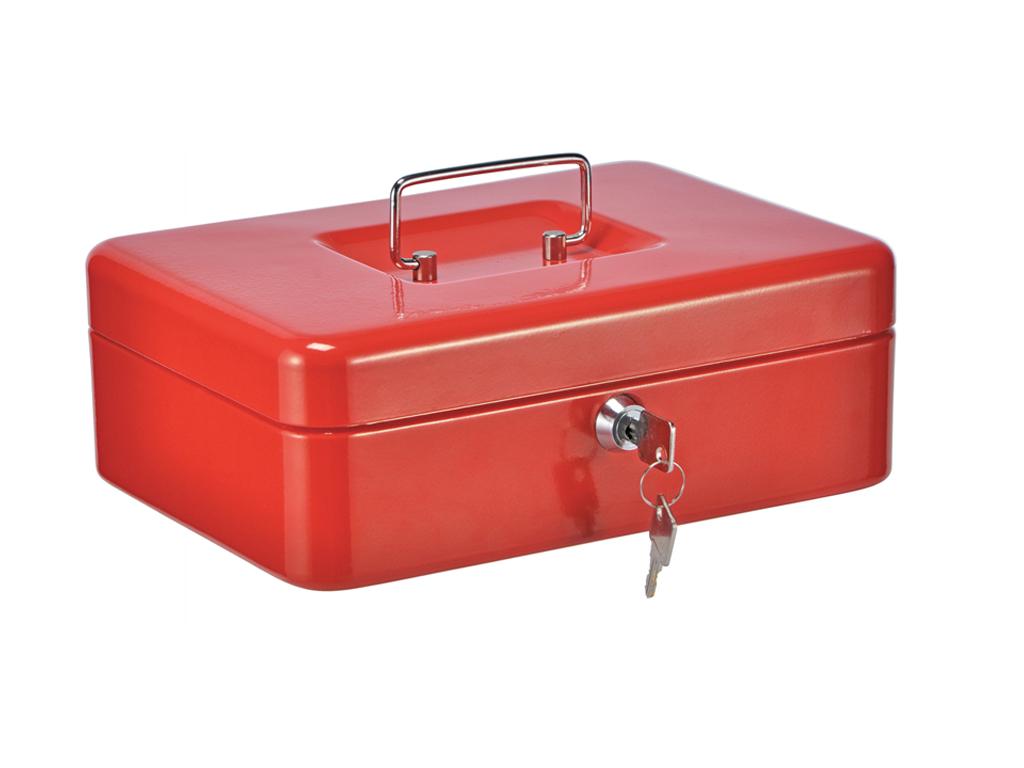 Μεταλλικό Κουτί Ταμείου με Κλειδαριά 24.5x18x8.5cm με εργονομική λαβή και ξεχωριστό χώρο για νομίσματα, 98114 Χρώμα Κόκκινο - Cb
