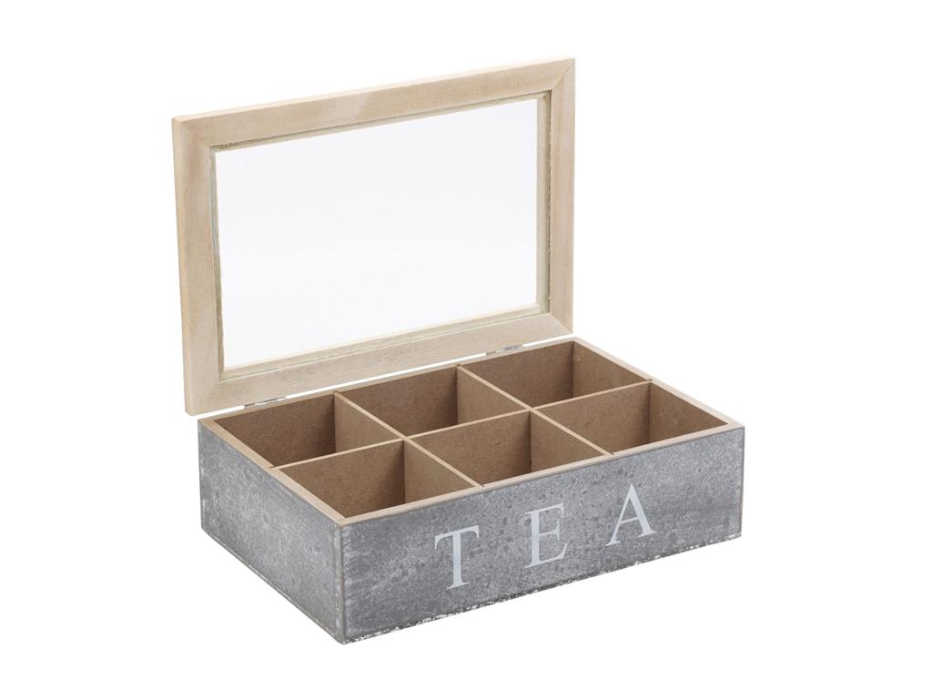 Ξύλινο Vintage Πρακτικό Κουτί Αποθήκευσης για Φακελάκια Τσαγιού σε Γκρι χρώμα 23 κουζίνα   κουτιά κουζίνας και ψωμιέρες