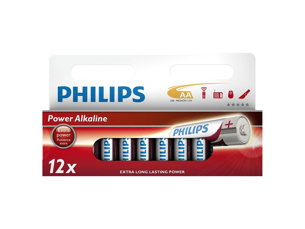 Philips Μπαταρίες Power Alkaline AA 12 τεμ., LR6P12W - Philips μπαταρίες   αλκαλικές μπαταρίες