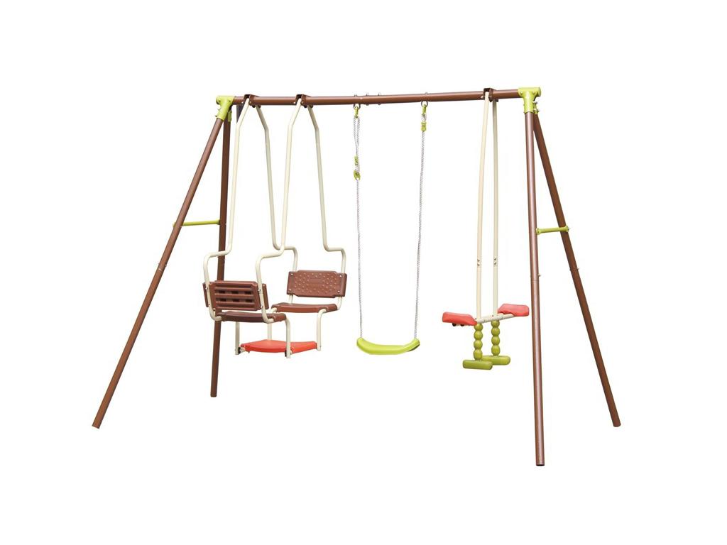 Eddy Toys Σετ Κούνιες Παιδικής Χαράς με 3 Καθίσματα 270x155x195cm με Σκελετό από παιχνίδια  παιδί  και  βρέφος