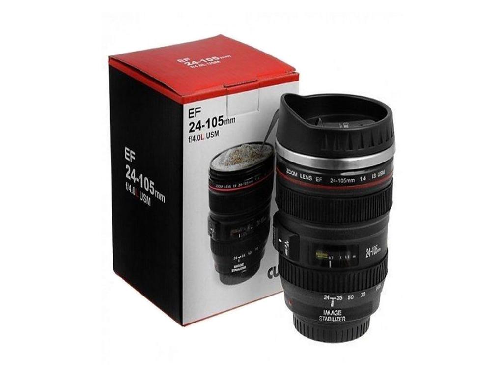 Κούπα σε σχήμα Φακού Φωτογραφικής Μηχανής Τύπου 24-105mm με Ανοξείδωτο εσωτερικό και καπάκι για να διατηρείται το ρόφημά σας ζεστό ή κρύο - OEM