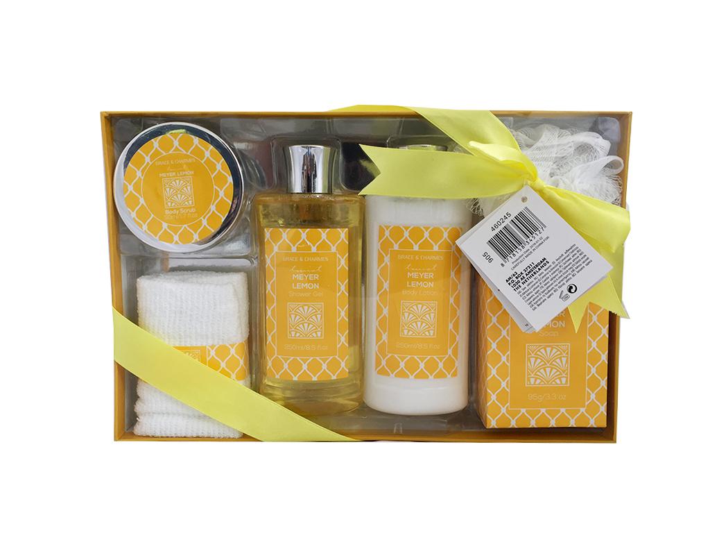 Σετ Μπάνιου 6 τεμ. με είδη Περιποίησης Σώματος Meyer Lemon σε Συσκευασία Δώρου - εκδηλώσεις και γιορτές   είδη δώρου