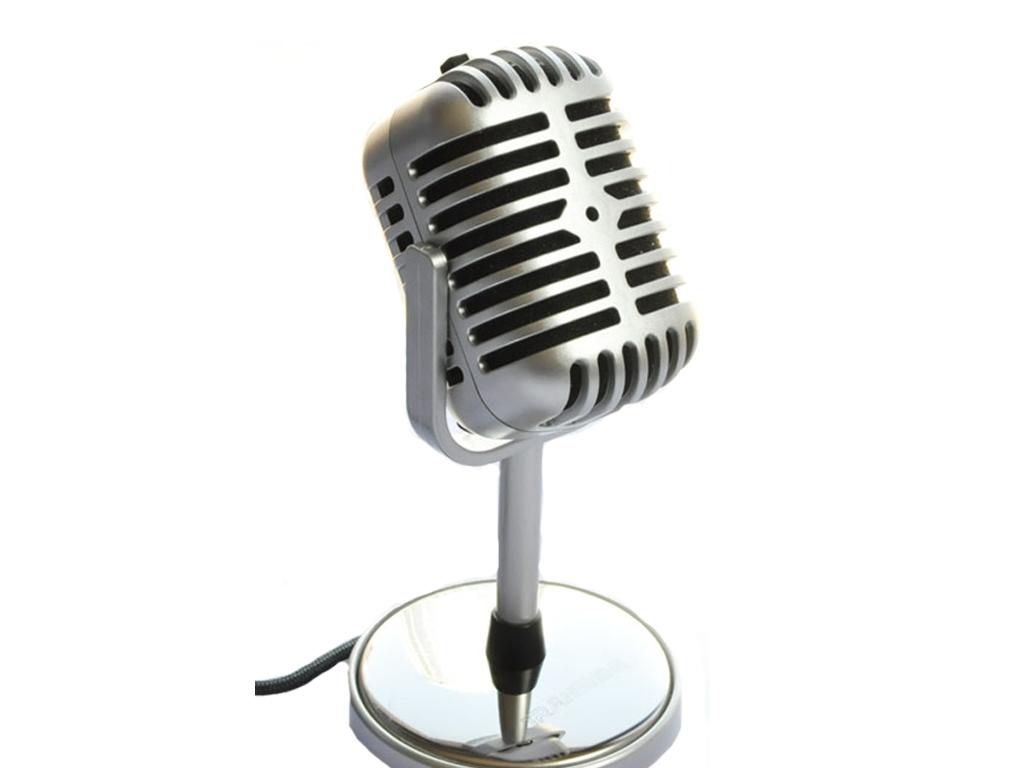 Μίνι Ρετρό Μικρόφωνο για karaoke Καραόκε με Βάση σε Ασημί χρώμα - OEM μικρόφωνα   ενσύρματα μικρόφωνα