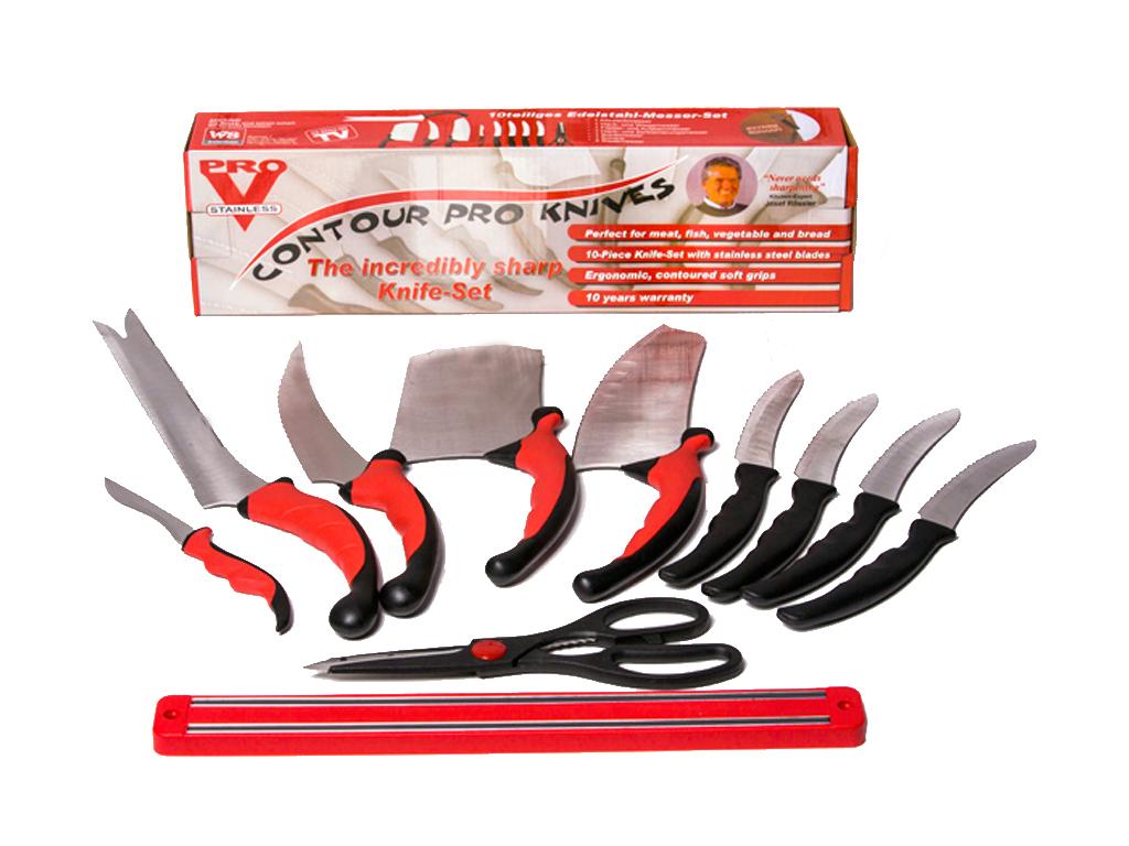Σετ Μαχαίρια Κουζίνας Contour PRO 10 τεμ. από Ανοξείδωτο ατσάλι σε Μαύρο/Κόκκινο αξεσουάρ και εργαλεία κουζίνας   μαχαίρια κουζίνας