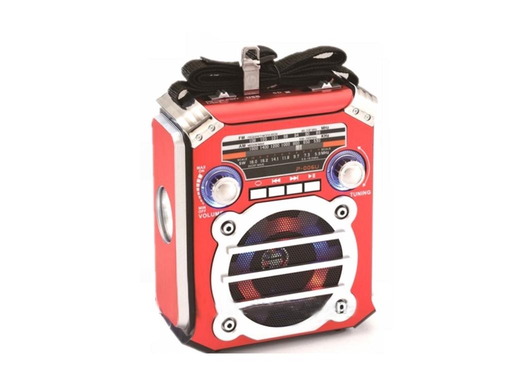 Φορητό Επαναφορτιζόμενο Ηχείο με Ραδιόφωνο AM/FM, USB/SD/TF/AUX 1.2W με Φως disc τεχνολογία   ηχεία