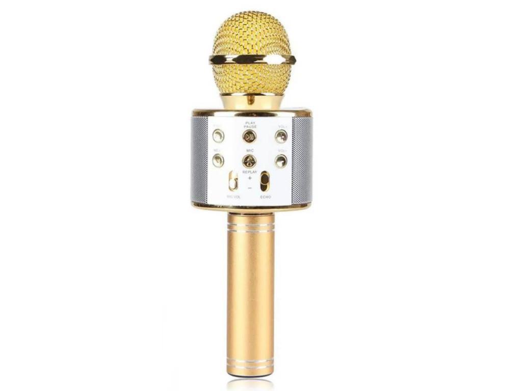 Ασύρματο bluetooth μικρόφωνο με ενσωματωμένο ηχείο και karaoke, WS-858 Χρυσό - O τεχνολογία   μικρόφωνα