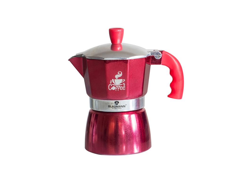Blaumann Καφετιέρα για Espresso από Αλουμίνιο μέχρι 3 φλυτζάνια σε Κόκκινο χρώμα ηλεκτρικές οικιακές συσκευές   καφετιέρες και είδη καφέ