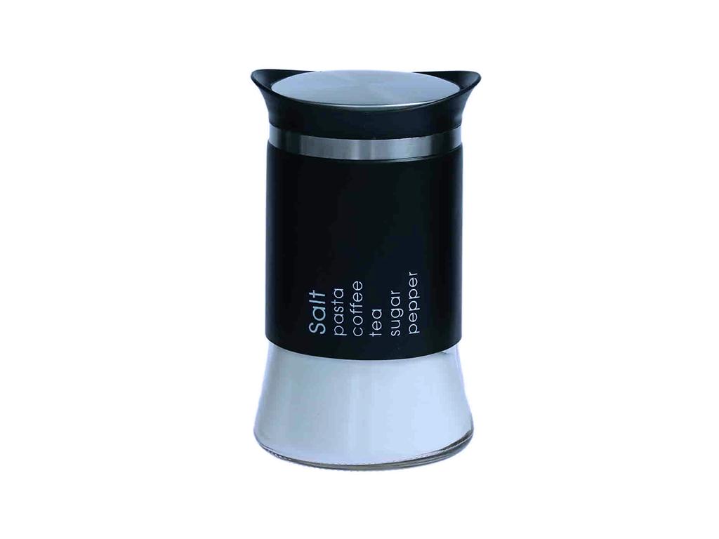 Michelino Γυάλινο Δοχείο για Αλάτι 12×18 cm 1000ml με Μαύρο περίβλημα απο ανοξείδωτο ατσάλι και αναγραφή Salt της σειράς Atlanta, 52072 – Michelino
