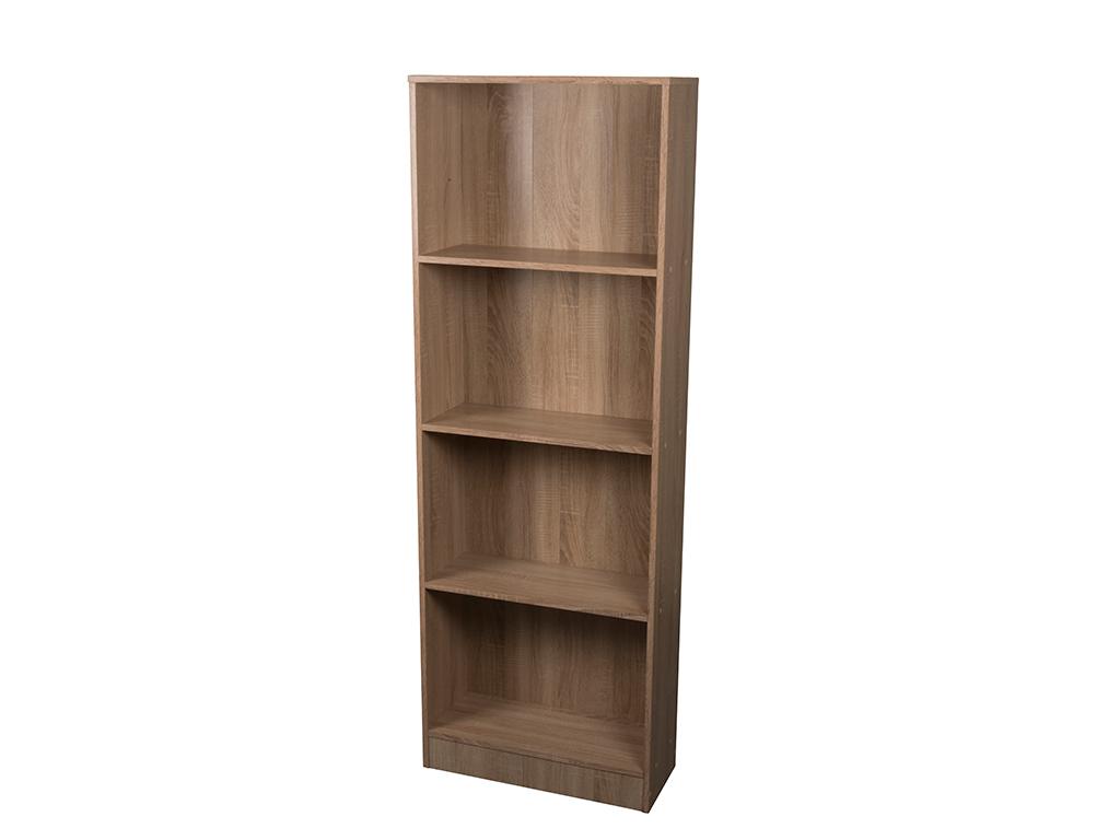 Homestyle Έπιπλο Ξύλινη Βιβλιοθήκη 60x24x170cm με 4 Ράφια σε Φυσικό χρώμα ξύλου, έπιπλα   βιβλιοθήκες