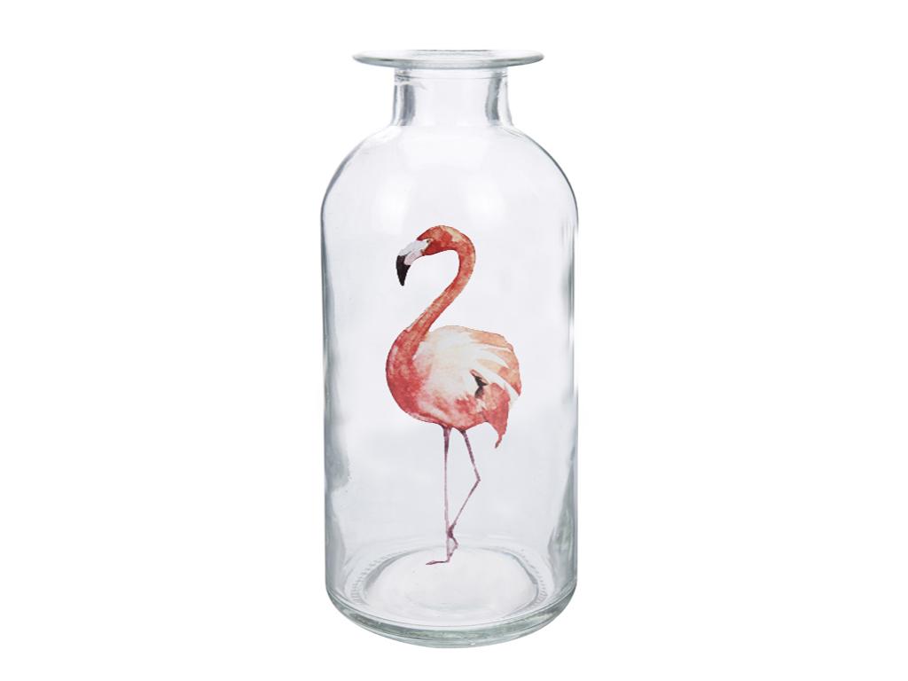 Φλαμίνγκο Flamingo Γυάλινο Διακοσμητικό Βάζο 10x19cm με στενό λαιμό σε σχήμα Μπο διακόσμηση και φωτισμός   διακόσμηση τραπεζίου και ανθοδοχεία