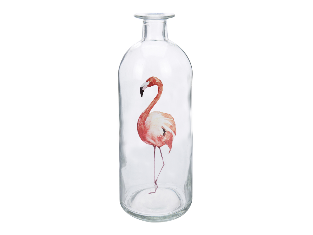 Φλαμίνγκο Flamingo Γυάλινο Διακοσμητικό Βάζο 8x26.5cm με στενό λαιμό σε σχήμα Μπ διακόσμηση και φωτισμός   διακόσμηση τραπεζίου και ανθοδοχεία