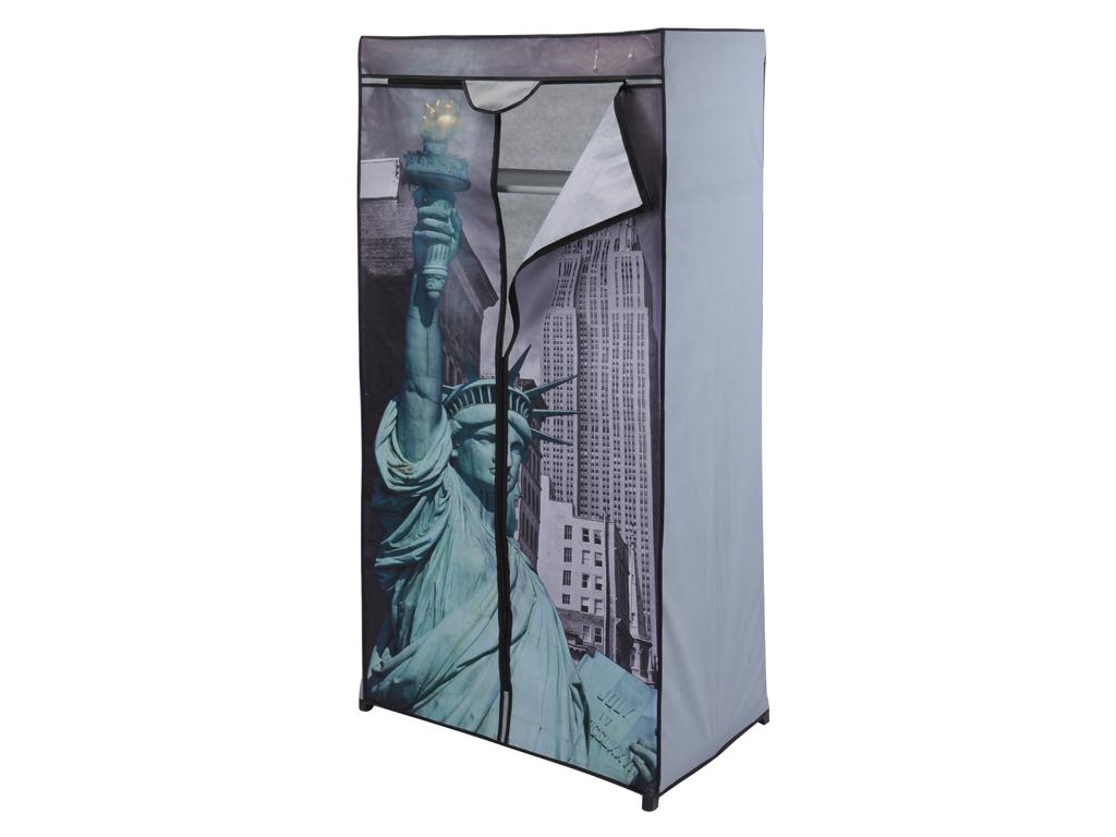Διπλή Φορητή Υφασμάτινη Ντουλάπα 75x45x160cm με Μεταλλικό Σκελετό και Απεικόνιση έπιπλα   ντουλάπες και αξεσουάρ