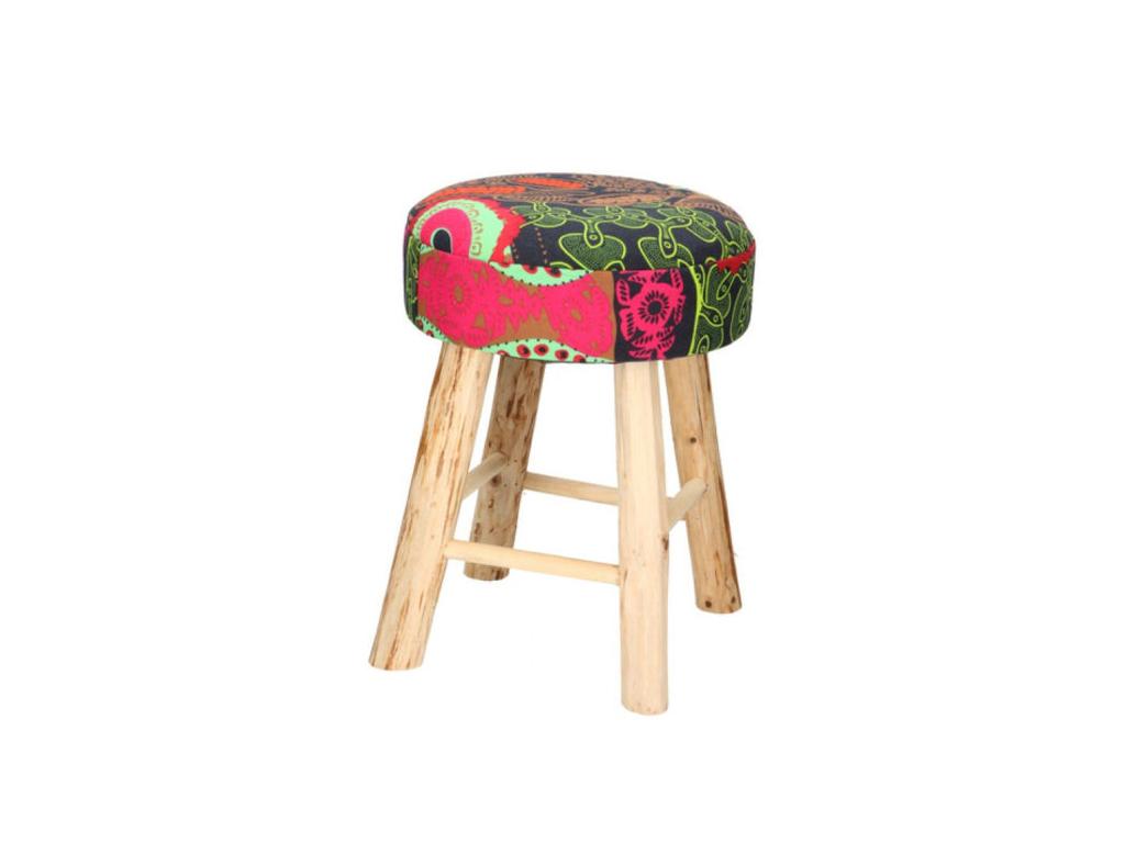 Ξύλινο Σκαμνί Σκαμπό με Στρογγυλό Υφασμάτινο Κάθισμα Πολύχρωμο Μοντέλο BATIK 30x έπιπλα   πουφ και σκαμπό