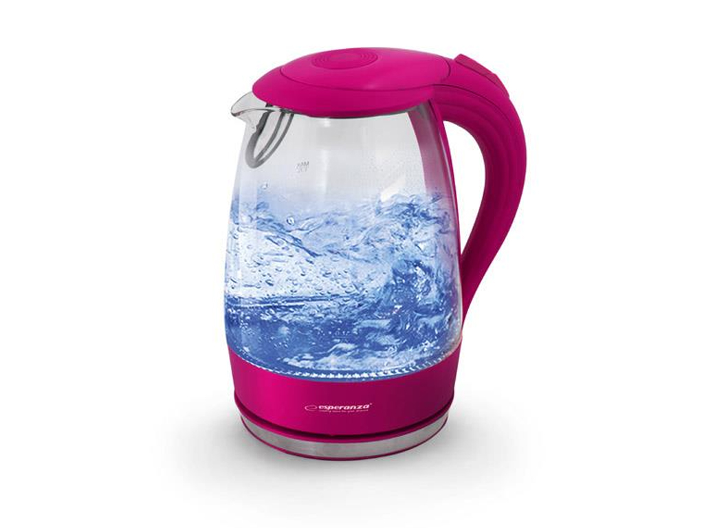 Esperanza Γυάλινος Βραστήρας Νερού Salto Angel 1.7lt 2200W με φωτισμό σε Ροζ χρώ ηλεκτρικές οικιακές συσκευές   βραστήρες