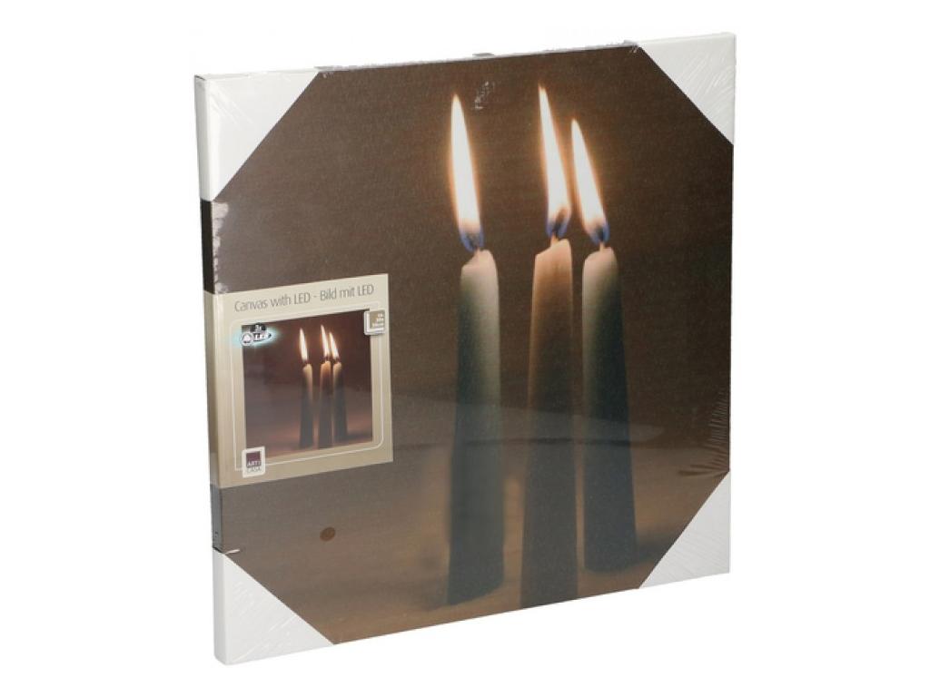 Arti Casa Πίνακας LED Καμβάς 30x30cm με Απεικόνιση Κεριών, 16414 - Arti Casa διακόσμηση   κορνίζες πίνακες καθρέφτες