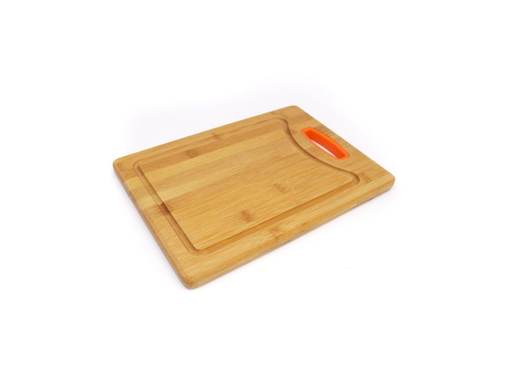 Muhler Ξύλινος Δίσκος Κοπής Μπαμπού Bamboo με λεπτομέρεια σε Πορτοκαλί χρώμα, MR-1633BS - Muhler