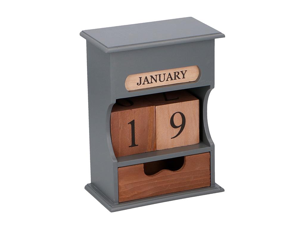 Arti Casa Ξύλινο Διακοσμητικό Ημερολόγιο Οργανωτής με 1 συρτάρι και Ξύλινους Κύβ διακόσμηση   διάφορα διακοσμητικά