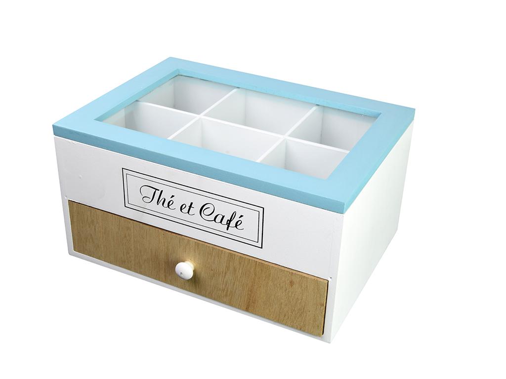 Arti Casa Ξύλινο Κουτί Αποθήκευσης για Φακελάκια Τσαγιού 23x12x16.5cm με 6 Τμήμα κουζίνα   κουτιά κουζίνας και ψωμιέρες