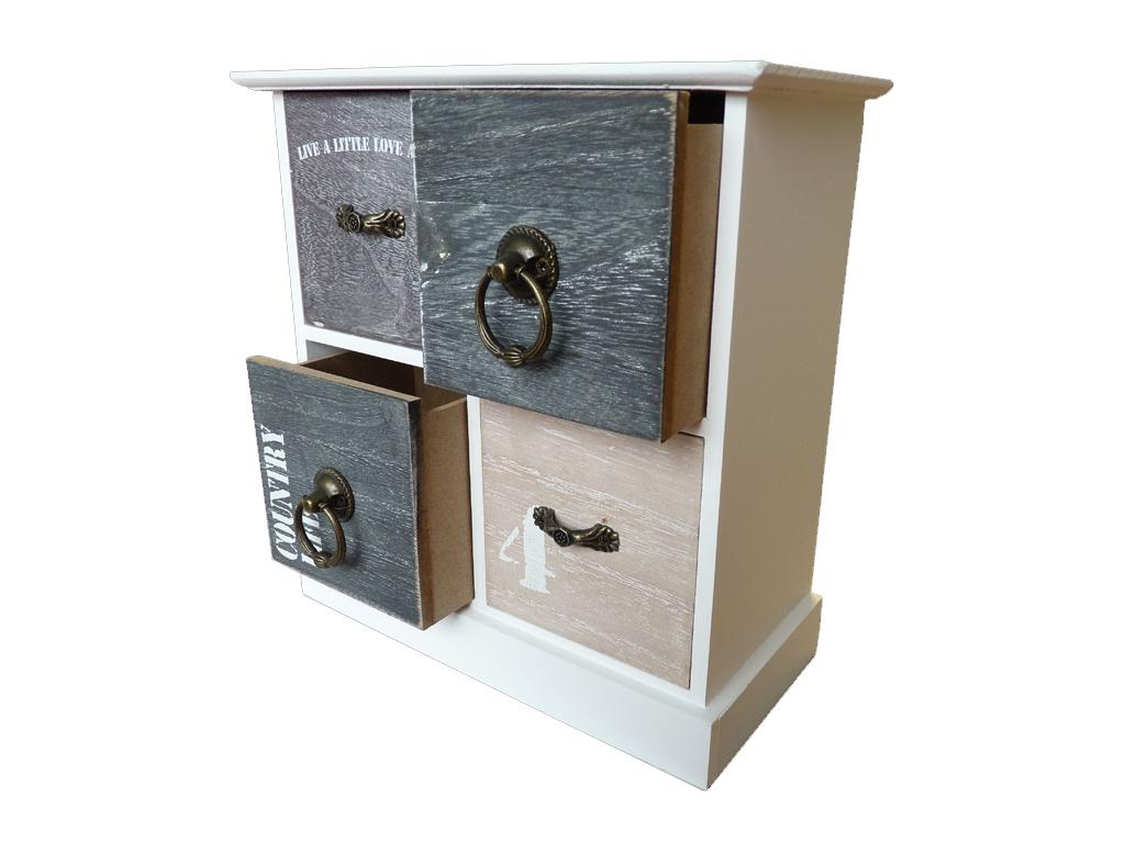 Homestyle Ξύλινο Vintage Ντουλάπι Οργανωτής με 4 συρτάρια 21.5x10x23cm ιδανικό γ έπιπλα   οργανωτές αντικειμένων