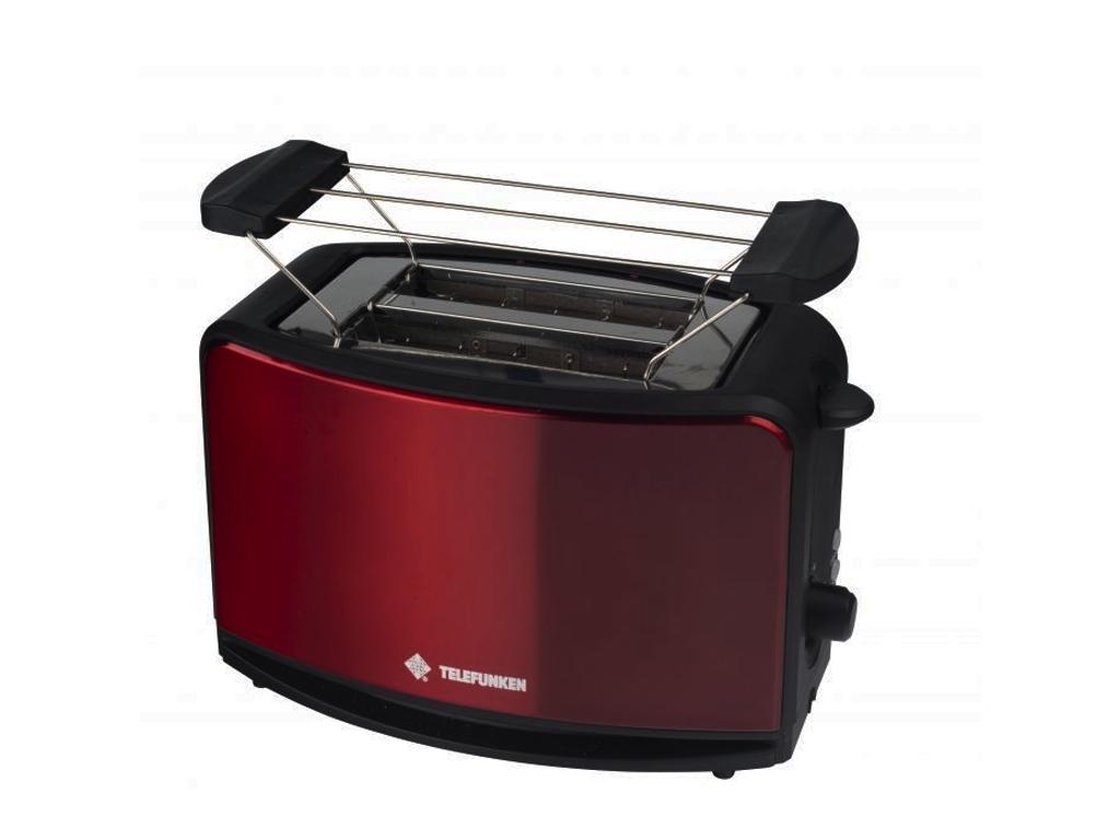 Telefunken Αυτόματη Φρυγανιέρα 870W με 2 Υποδοχές και σχάρα για ψωμάκια σε Κόκκι ηλεκτρικές οικιακές συσκευές   τοστιέρες   σαντουιτσιέρες   φρυγανιέρες