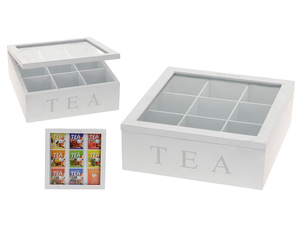 Ξύλινο Πρακτικό Κουτί αποθήκευσης για φακελάκια τσαγιού Tea box με 9 θέσεις και  κουζίνα   κουτιά κουζίνας και ψωμιέρες