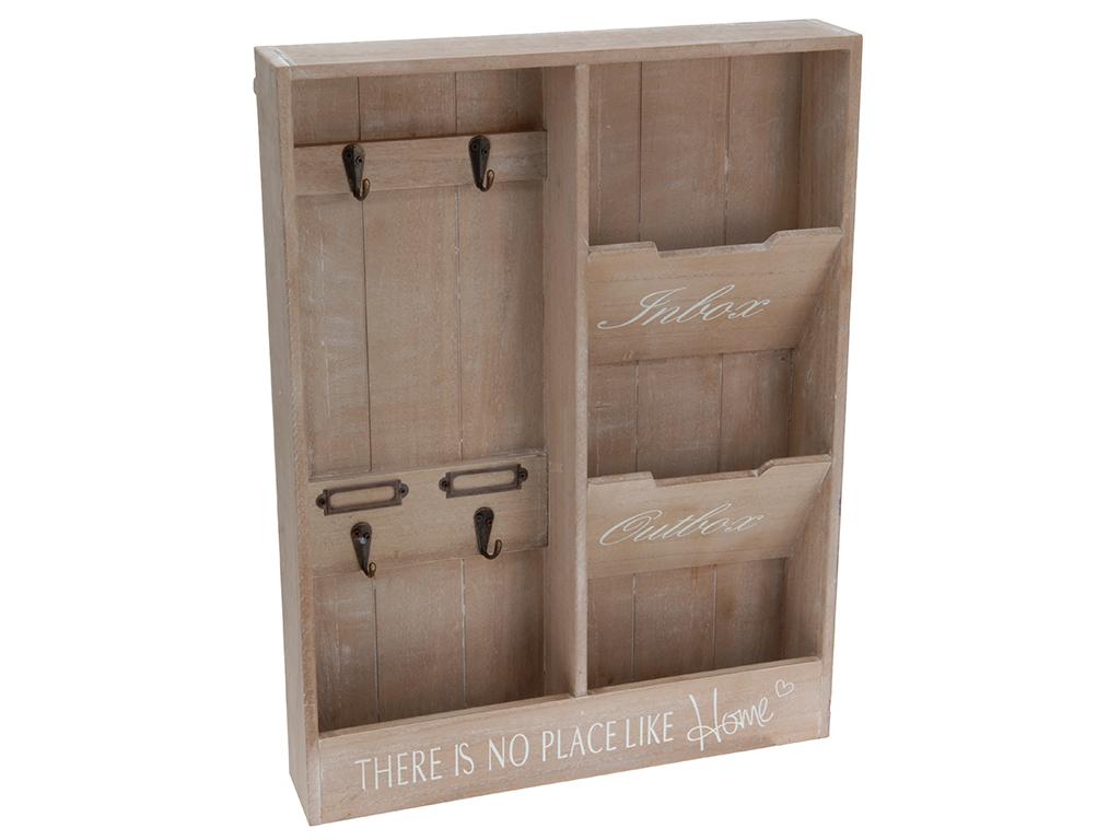 Ξύλινη Vintage Κλειδοθήκη Τοίχου 4 θέσεων με χώρο για Αλληλογραφία 48x36x7 cm -  οργάνωση σπιτιού   κλειδοθήκες