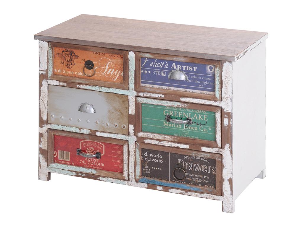 Ξύλινο Vintage Έπιπλο Σύνθετο με 6 Συρτάρια Πολύχρωμα 60x30x45cm - Cb έπιπλα   έπιπλα εισόδου και σύνθετα