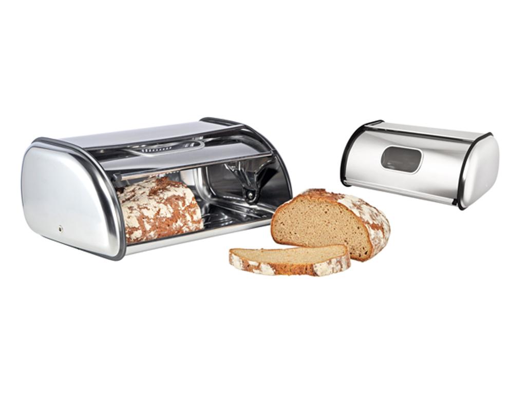 Ψωμιέρα Inox από Ανοξείδωτο ατσάλι με παράθυρο προβολής και Ανοιγόμενο καπάκι 33 κουζίνα   κουτιά κουζίνας και ψωμιέρες