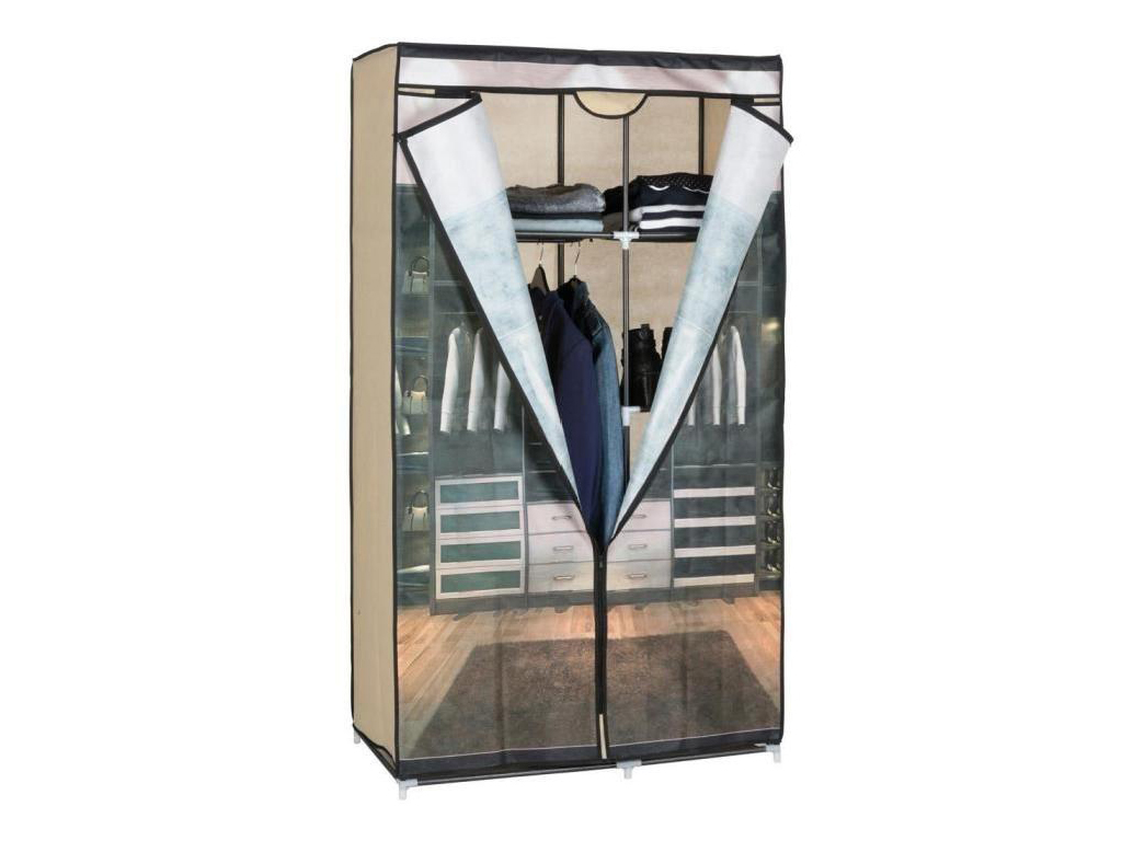 Διπλή Ντουλάπα υφασμάτινη 88x45x160cm σε καφέ χρώμα, 03110 - Cb έπιπλα   ντουλάπες και αξεσουάρ