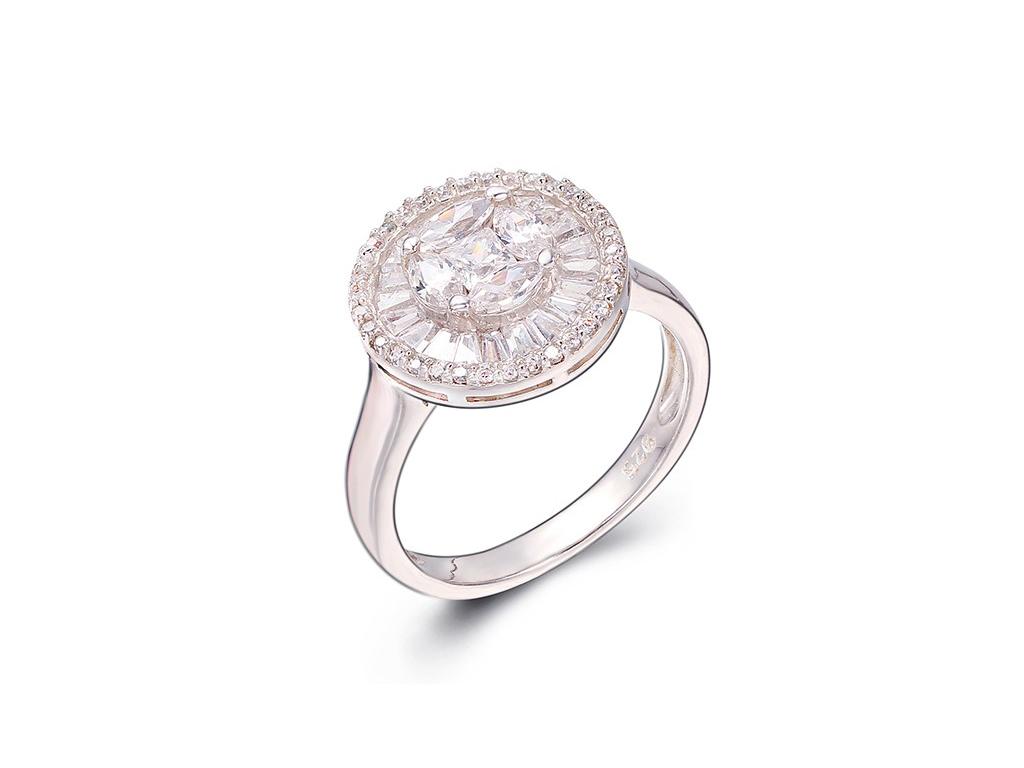 Γυναικείο Κόσμημα Δαχτυλίδι από Ασήμι 925 Μεγέθους 52 σε Λευκόχρυσο με Λευκά Ζιρ γυναικεία αξεσουάρ και κοσμήματα   γυναικεία δαχτυλίδια