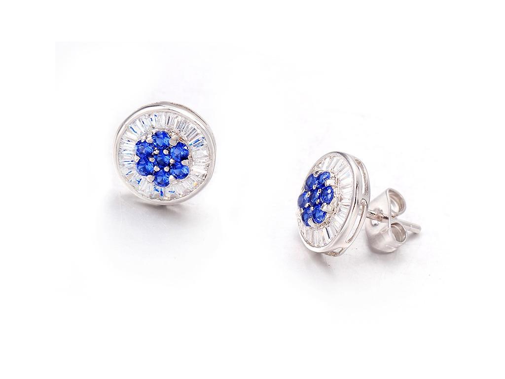 Γυναικείο Κόσμημα Σκουλαρίκια από Ασήμι 925 σε Λευκόχρυσο με Μπλε Κρύσταλλα - Cb γυναίκα   αξεσουάρ   κόσμημα