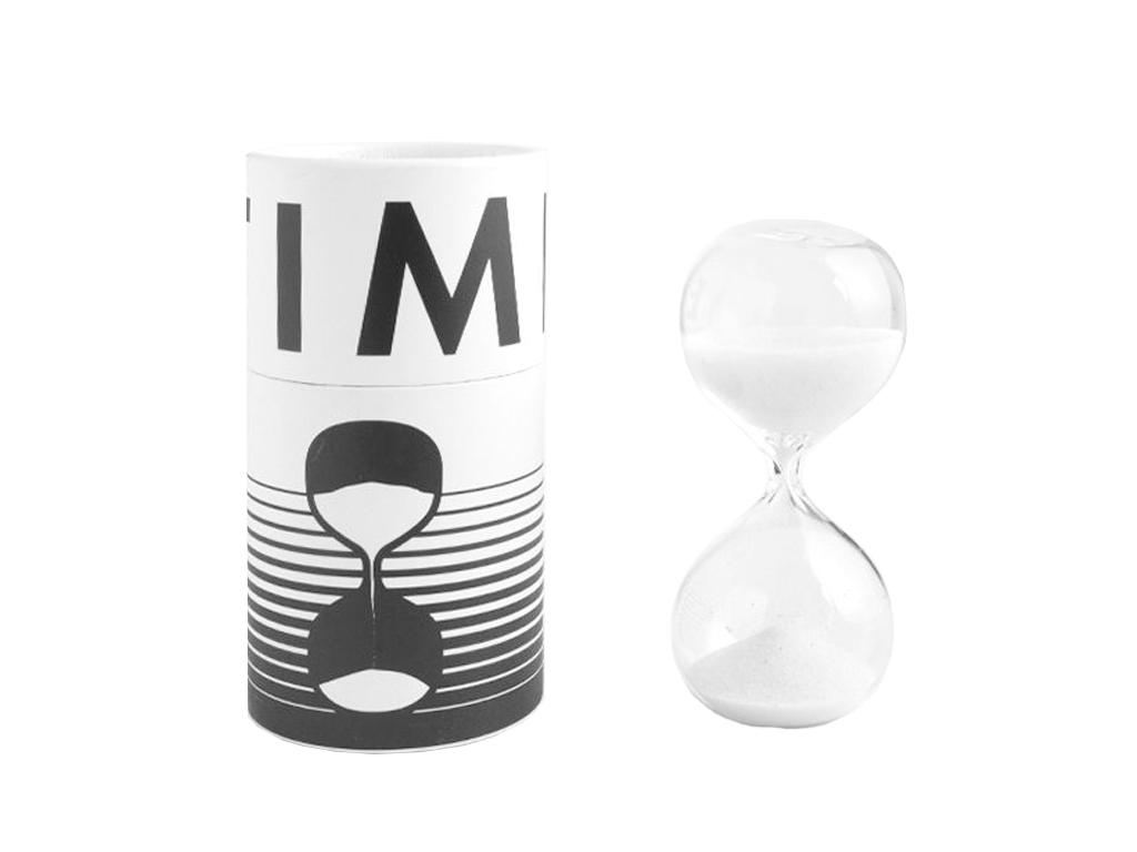 Γυάλινη Κλεψύδρα Χρονόμετρο για αντίστροφη μέτρηση 8 λεπτών με Άμμο σε Λευκό χρώ διακόσμηση και φωτισμός   διακόσμηση τραπεζίου και ανθοδοχεία