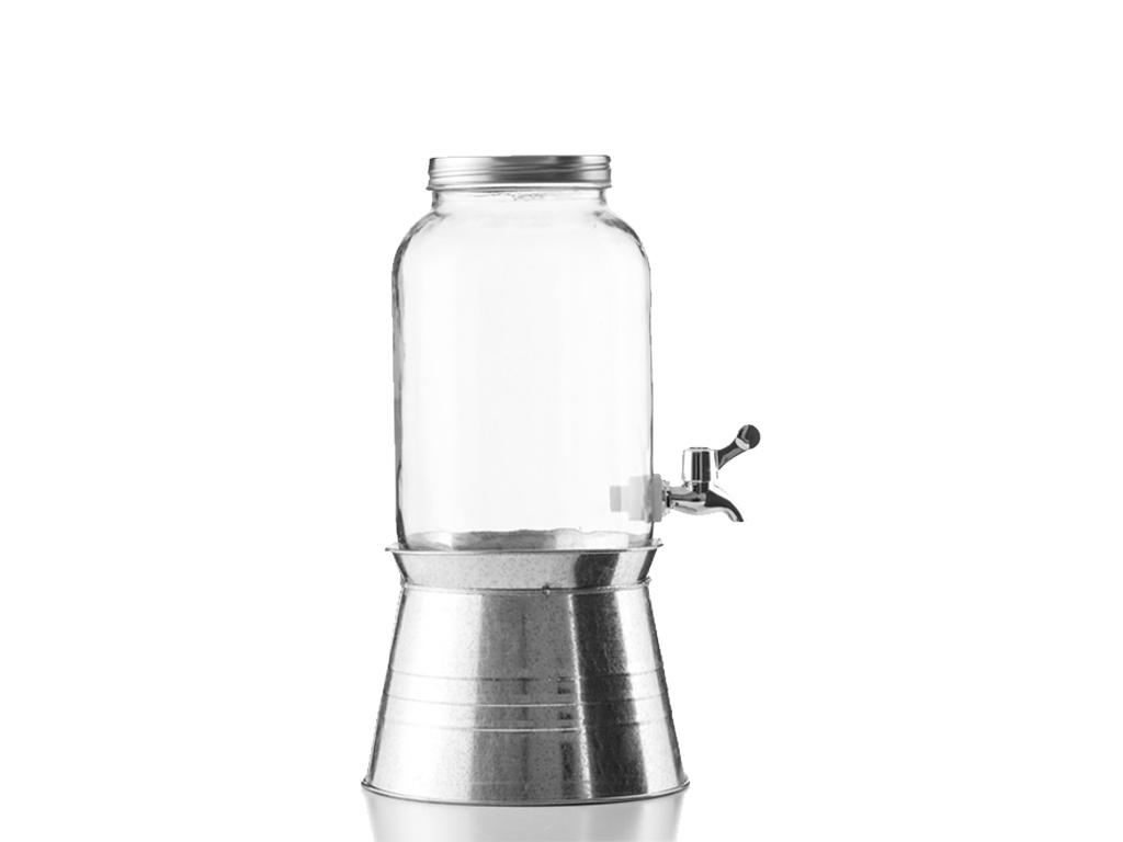 Γυάλινος Διανεμητής ποτών με κάνουλα, μεταλλικό καπάκι και δοχείο χωρητικότητας  ηλεκτρικές οικιακές συσκευές   διάφορες οικιακές συσκευές