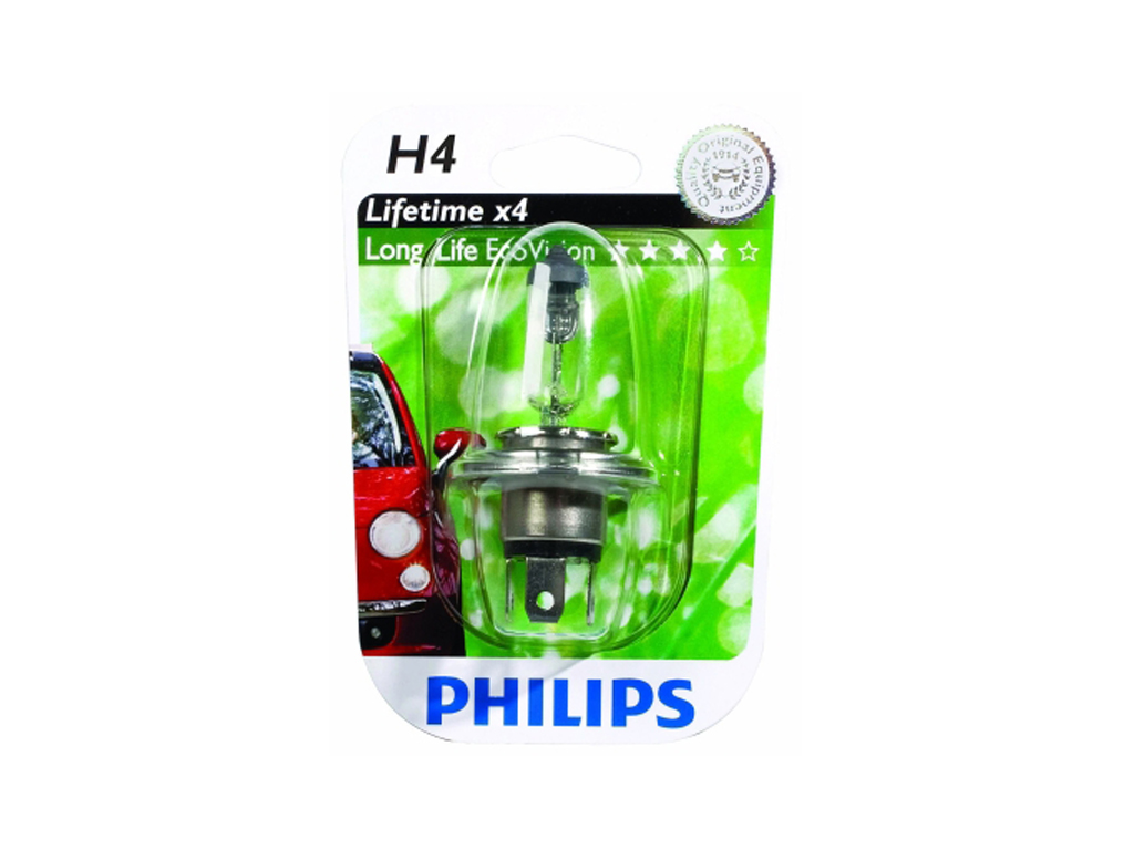 Philips Λάμπα Αυτοκινήτου h4 LongLife EcoVision 60-55W 1650LM, 36198 - Philips αξεσουάρ αυτοκινήτου   λάμπες αυτοκινήτου