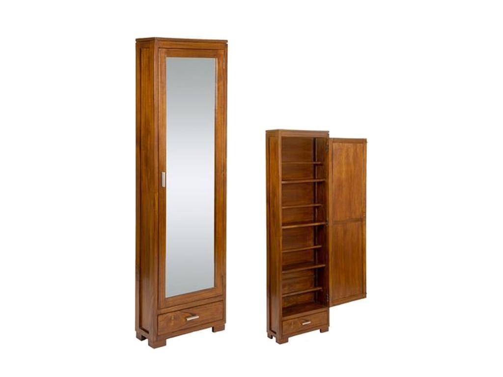 Craftenwood Ξύλινο Έπιπλο Παπουτσοθήκη με Πόρτα Καθρέπτη 50x20x170cm σε χρώμα Φυ έπιπλα   παπουτσοθήκες